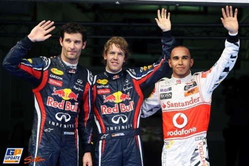 Pole Position Sebastian Vettel (Red Bull Racing), Second Place Lewis Hamilton (McLaren Mercedes) and Third Place Mark Webber (Red Bull Racing)