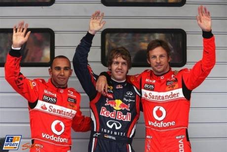 The Top Three of the Qualification : Pole Position Sebastian Vettel (Red Bull Racing), Second Place Jenson Button (McLaren Mercedes) and Third Place Lewis Hamilton (McLaren Mercedes)