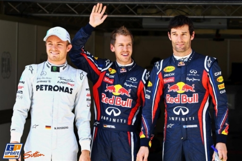 Third Place Nico Rosberg (Mercedes GP F1 Team), Pole Position Sebastian Vettel (Red Bull Racing) and Second Place Mark Webber (Red Bull Racing)