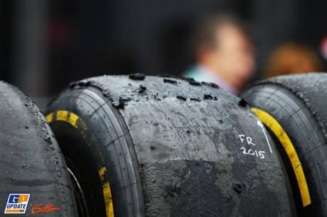 A badly damaged Pirelli Tyre
