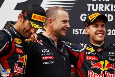 The Podium with Mark Webber and Sebastian Vettel of Red Bull Racing