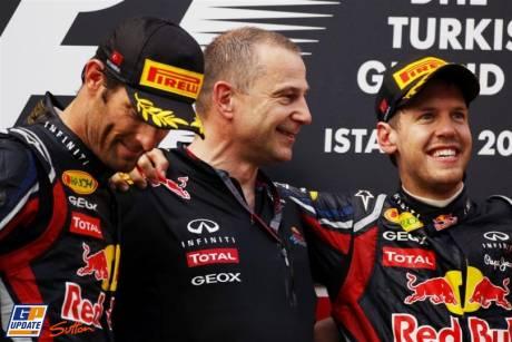 The Podium with Mark Webber and Sebastian Vettel of Red Bull Racing