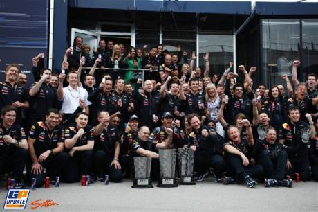 Red Bull celebrating their First and Second position at Istanbul Park