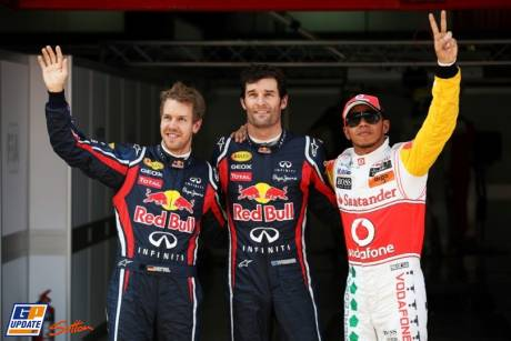 The Top Three : Third Place Sebastian Vettel (Red Bull Racing), Pole Position Mark Webber (Red Bull Racing) and Second Place Lewis Hamilton (McLaren Mercedes)