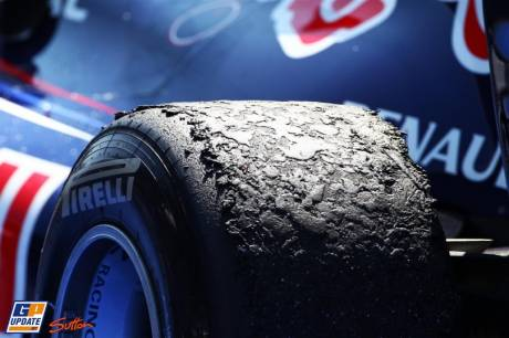 A very degradated Pirelli Tyre