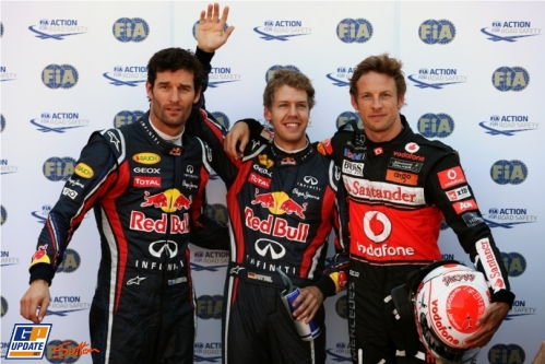 The Top Three : Third Place Mark Webber (Red Bull Racing), Pole Position Sebastian Vettel (Red Bull Racing) and Second Place Jenson Button (McLaren Mercedes)