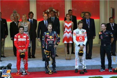 The Podium : Second Place Fernando Alonso (Scuderia Ferrari), Race Winner Sebastian Vettel (Red Bull Racing) and Third Place Jenson Button (McLaren Mercedes)