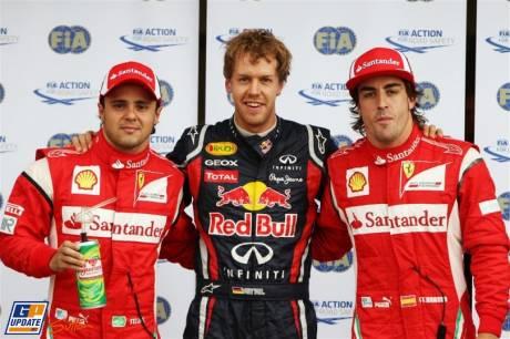The First Three : Third Place Felipe Massa (Scuderia Ferrari), First Place Sebastian Vettel (Red Bull Racing) and Third Place Fernando Alonso (Scuderia Ferrari)