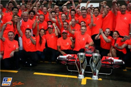 McLaren Mercedes celebrating Jenson Button his win