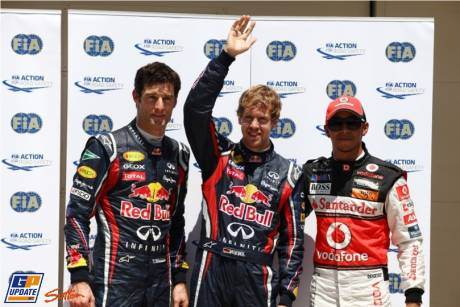 The Top Three Qualifiers : Second Place Mark Webber (Red Bull Racing), Pole Position Sebastian Vettel (Red BUll Racing) and Third Place Lewis Hamilton (McLaren Mercedes)\