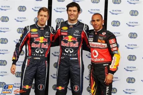 The Top Three Qualifyers : Third Place Sebastian Vettel (Red BUll Racing), Pole Position Mark Webber (Red Bull Racing) and Second Place Lewis Hamilton (McLaren Mercedes)