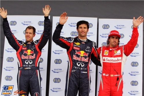 The Top Three: Second Place Sebastian Vettel (Red Bull Racing), Pole Position Mark Webber (Red Bull Racing) and Third Place Fernando Alonso (Scuderia Ferrari)