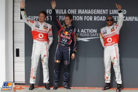 The Top Three of Qualification : Third Place Jenson Button (McLaren Mercedes), Pole Position Sebastian Vettel (Red Bull Racing) and Second Place Lewis Hamilton (McLaren Mercedes)