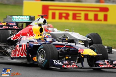 Mark Webber (Red Bull Racing, RB7) and Michael Schumacher (Mercedes GP F1 Team, MGP W02) Battling For Position