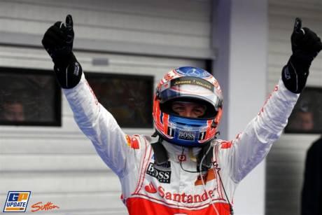 Jenson Button (McLaren Mercedes) celebrating his Hungaroring Win
