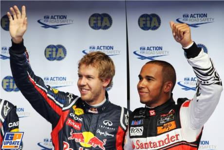 Pole Position Sebastian Vettel (Red Bull Racing) and Second Place Lewis Hamilton (McLaren Mercedes)