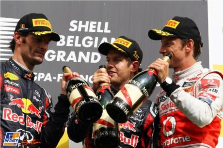 The Podium : Third Place Mark Webber (Red Bull Racing), Race Winner Sebastian Vettel (Red Bull Racing) and Second Place Jenson Button (McLaren Mercedes)