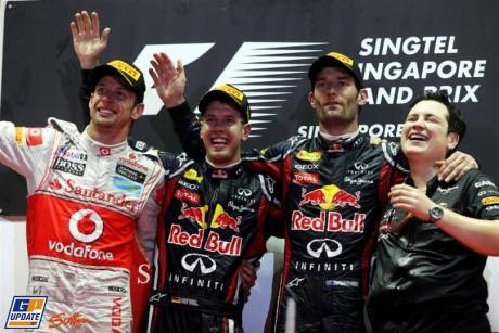 The Podium : Second Place Jenson Button (McLaren Mercedes), Race Winner Sebastian Vettel (Red Bull Racing) and Third Place Mark Webber (Red Bull Racing)