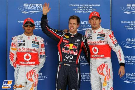 The Top Three Qualifiers : Third Place Lewis Hamilton (McLaren Mercedes), Pole Position Sebastian Vettel (Red Bull Racing) and Second Place Jenson Button (McLaren Mercedes)