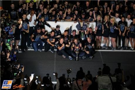 Sebastian Vettel and Red Bull Racing celebrate his becoming Formula 1 Champion of 2011
