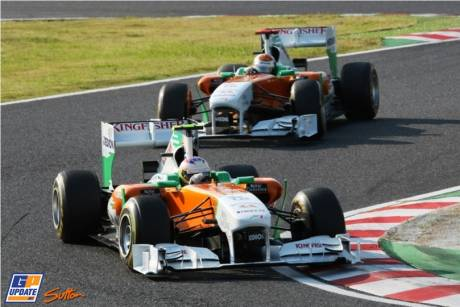 Paul di Resta and Adrian Sutil (Force India F1 Team, VJM04)