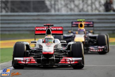 Lewis Hamilton (McLaren Mercedes, MP4-26) leads Mark Webber (Red Bull Racing, RB7)