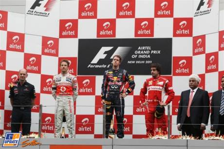 The Podium : Second Place Jenson Button (McLaren Mercedes), Race Winner Sebastian Vettel (Red Bull Racing) and Third Place Fernando Alonso (Scuderia Ferrari)