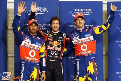 The Top Three Qualifiers : Second Place Lewis Hamilton (McLaren Mercedes), Pole Position Sebastian Vettel (Red Bull Racing) and Third Place Jenson Button (McLaren Mercedes)