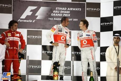 The Podium : Second Place Fernando Alonso (Scuderia Ferrari), Race Winner Lewis Hamilton (McLaren Mercedes) and Second Place Jenson Button (McLaren Mercedes)
