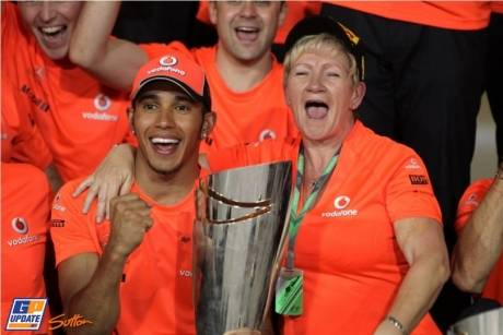 Lewis Hamilton (McLaren Mercedes) celebrating his win with his mother