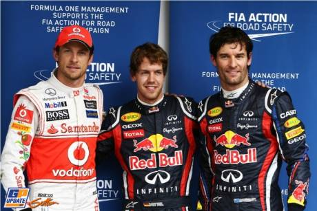 The Top Three Qualifiers : Third Place Jenson Button (McLaren Mercedes), Pole Position Sebastian Vettel (Red Bull Racing) and Second Place Mark Webber (Red Bull Racing)