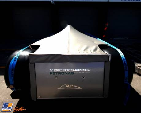 The Mercedes AMG F1 Team W03 under a cover