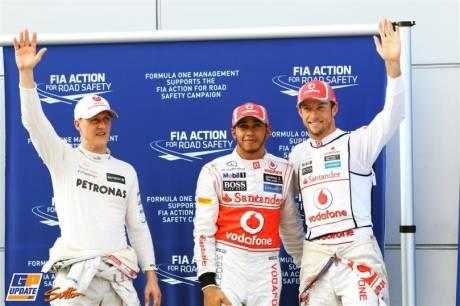 The Top Three Qualifiers : Third Place Michael Schumacher (Mercedes AMG F1 Team), Pole Position Lewis Hamilton (McLaren Mercedes) and Second Place Jenson Button (McLaren Mercedes)