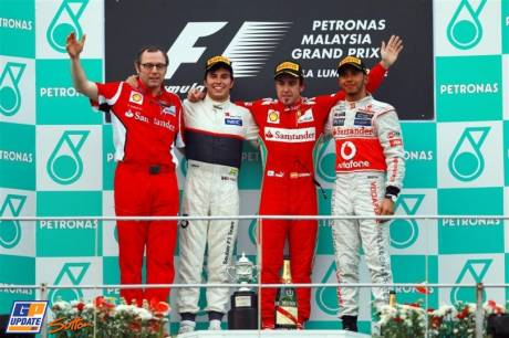 The Podium : Constructor Winner Stefano Domenicali (Scuderia Ferrari), Third Place Sergio Perez (Sauber F1 Team), Race Winner Fernando Alonso (Scuderia Ferrari) and Third Place Lewis Hamilton (McLaren Mercedes)