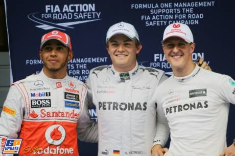 The Top Three Qualifiers : Second Place Lewis Hamilton (McLaren Mercedes), Pole Position Nico Rosberg (Mercedes AMG F1 Team) and Second Place Michael Schumacher (Mercedes AMG F1 Team)