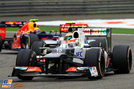 Sergio Perez (Sauber F1 Team, C31) leading Lewis Hamilton (McLaren Mercedes, MP4-27) and Mark Webber (Red Bull Racing, RB8)