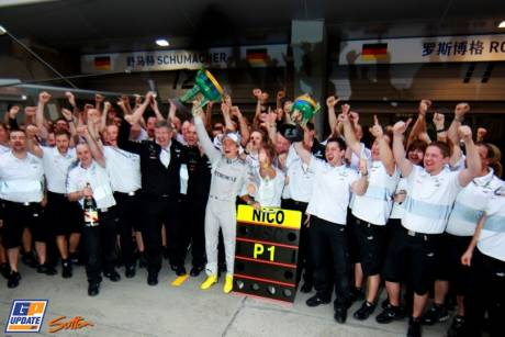 Nico Rosberg and Mercedes AMG F1 Team celebrating his Race Win of the Chinese Grand Prix