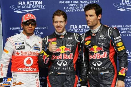The Top Three Qualifiers : Second Place Lewis Hamilton (McLaren Mercedes), Pole Position Sebastian Vettel (Red Bull Racing) and Second Place Mark Webber (Red Bull Racing)