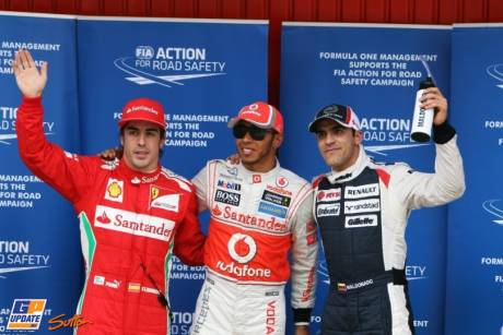 The Top Three Qualifiers : Third Place Fernando Alonso (Scuderia Ferrari), Pole Position Lewis Hamilton (McLaren Mercedes) and Second Place Pastor Maldonado (Williams F1 Team)
