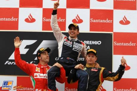 The Podium : Second Place Fernando Alonso (Scuderia Ferrari), Race Winner Pastor Maldonado (Williams F1 Team) and Second Place Kimi Raikkonen (Lotus Renault GP)