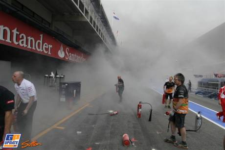 The Pit Fire at the Williams F1 Team Pits