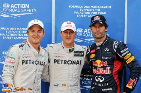 The Top Three Qualifiers : Third Place Nico Rosberg (Mercedes AMG F1 Team), Pole Position Michael Schumacher (Mercedes AMG F1 Team) and Second Plade Mark Webber (Red Bull Racing)