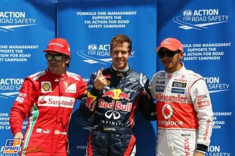 The Top Three Qualifiers : Third Place Fernando Alonso (Scuderia Ferrari), Pole Position Sebastian Vettel (Red Bull Racing) and Third Place Lewis Hamilton McLaren Mercedes