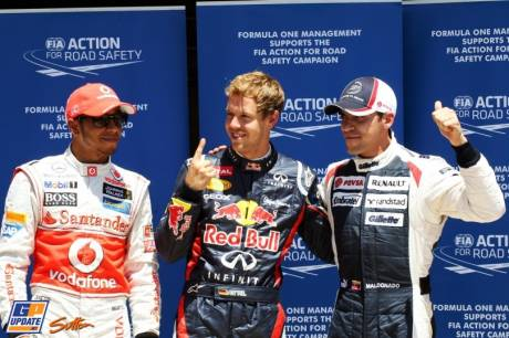 The Top Three Qualifiers : Second Place Lewis Hamilton (McLaren Mercedes), Pole Position Sebastian Vettel (Red Bull Racing) and Third Place Pastor Maldonado (Williams F1 Team)