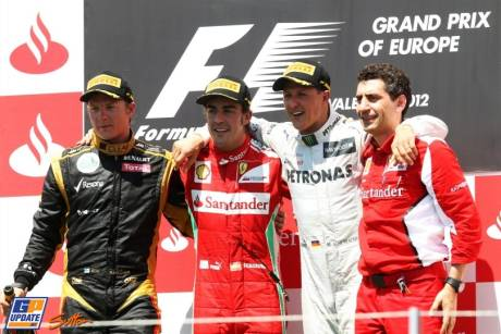 The Podium : Second Place Kimi Raikkonen (Lotus F1 Team), Race Winner Fernando Alonso (Scuderia Ferrari) and Third Place Micheal Schumacher (Mercedes AMG F1 Team)