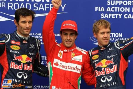 The Top Three Qualifiers : Third Place Mark Webber (Red Bull Racing), Pole Position Fernando Alonso (Scuderia Ferrari) and Second Place Sebastian Vettel (Red Bull Racing)