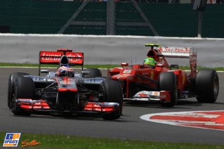 Jenson Button (McLaren Mercedes, MP4-27) and Felipe Massa (Scuderia Ferrari, F2012)