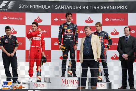 The Podium : Second Place Fernando Alonso (Scuderia Ferrari), Race Winner Mark Webber (Red Bull Racing) and Third Place Sebastian Vettel (Red Bull Racing)