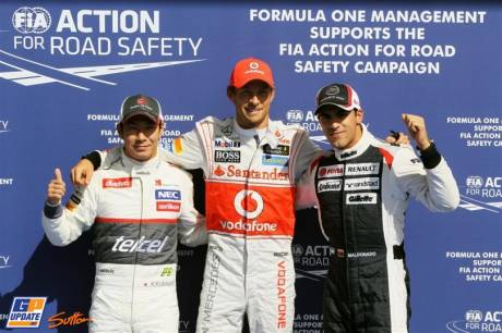 The Top Three Qualifiers : Second Place Kamui Kobayashi (Sauber F1 Team), Pole Position Jenson Button (McLaren Mercedes) and Third Place Pastor Maldonado (Williams F1 Team)