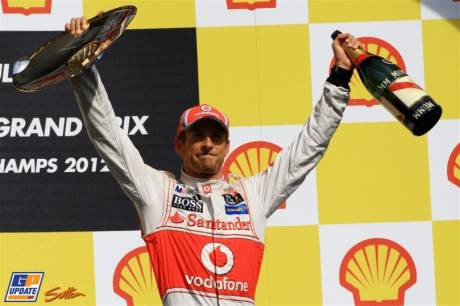 Jenson Button celebrating his Race Win on the Podium